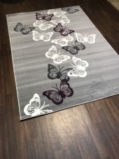 Modern Approx 8x5ft 160x230cm Woven Backed Butterfly Designs Greys/Creams